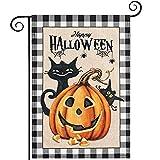 Hogardeck Halloween Garden Flag, Happy Halloween Black Cat Pumpkin Garden Decorations Outdoor, Burlap Double Sided Vertical Halloween Porch Decor, Halloween Yard Flag Signs 12.5 x 18 Inches