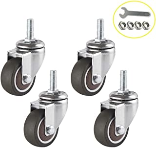 Caster FANYF M8 Stem Swivel Casters Wheels, Φ1.5/2in Rubber Castors, Furniture Casters, With Brakes, Suitable For School O...
