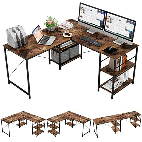 Bestier L-Shaped Gaming Desk with Shelves, Adjustable 59' 4 L Shaped or 95.2' Long Desk with 3 Cable Managements, Corner Computer Desk for Home Office Student Writing Table Workstation, Rustic Brown