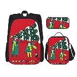 Merry Christams El mejor regalo para estudiantes 3 en 1 Set mochilas resistentes al agua/grandes lapiceres/bolsa de almuerzo aislada para mujeres/hombres