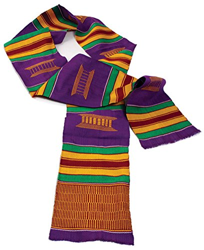 60' x 4.5' Authentic Hand Woven Kente Stole Sash - Available in Several Color Combinations (Purple/Gold)