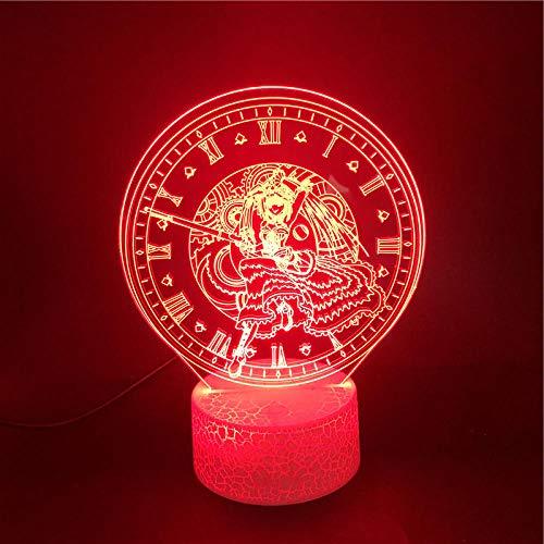 MBFT Anime personaje Tokisaki Kurnmi 3D Nightlight regalos para niños niños fanáticos atmósfera 7 colores pantalla LED lámpara de mesa 3D Anime luz nocturna