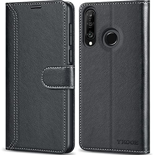 ykooe Handyhülle für Huawei P30 Lite Hülle, Schwarz Leder Schutzhülle für Huawei P30 Lite/Huawei P30 lite New Edition Flip Hülle Tasche