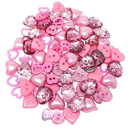 100 Stück gemischte rosa Herzen aus Harz mit flacher Rückseite zur dekorativen Verzierung von Karten