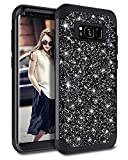 Casetego Compatible Galaxy S8 Case,Glitter Sparkle Bling Three Layer Heavy Duty Hybrid Sturdy Armor Shockproof Protective Cover Case for Samsung Galaxy S8,Shiny Black
