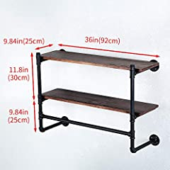 Industrial Pipe Clothing Rack Wall Mounted with Real Wood Shelf,Pipe Shelving Floating Shelves Wall Shelf,Rustic Retail Garment Rack Display Rack Cloths Rack,36in Steam punk Commercial Clothes Racks #2