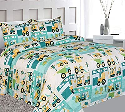 Elegant Home Green Beige Yellow Teal Trucks Tractors Cars Construction Site Design Fun 4 Piece Printed Full Size Sheet Set with Pillowcases Flat Fitted Sheet for Boys/Kids # Car