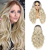 28' Ombre Silver Gray Long Wavy Wig Natural Look Curly Wavy Wig Center Parting Heat Resistant Synthetic Wigs
