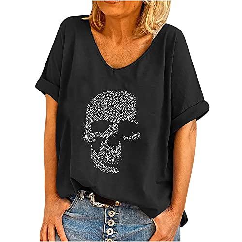 Masrin Damen Sommer Tops Lässiges T-Shirt mit Totenkopf-Strass-Motiv V-Ausschnitt Kurzarm Loser Pullover Plus Size Baggy Tunika-Bluse(L,Schwarz)