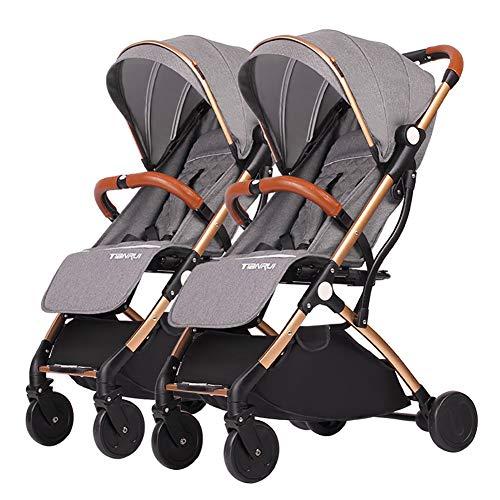 Poussettes JCOCO jumelle détachable, Double Chariot bébé, Chariot portatif en Aluminium d'or de Chariot portatif léger d'enfant ( Color : Gray )