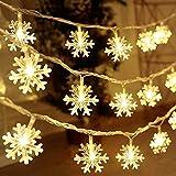 Luci Natalizie, DIKI Catene Luminose Luci LED a fiocco di neve 2 modalità 5M 40 LED Alimentazione a batteria Luci bianche calde Camera da letto, interno ed esterno