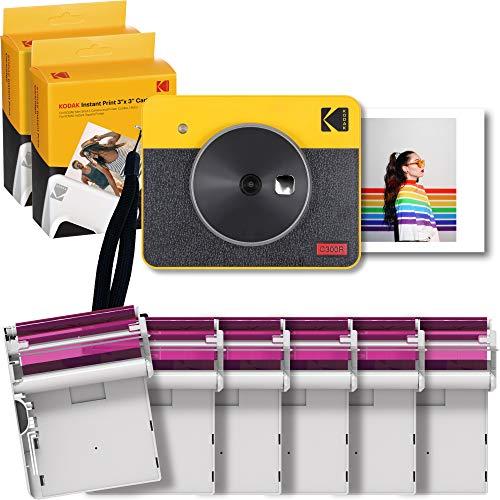 コダック(Kodak)Mini Shot 3レトロ インスタントカメラ/チェキ/ポラロイドカメラ+スマホ対応プリンター[イエロー/写真3x3インチ]プリンター + 68シート入り【セット買い】