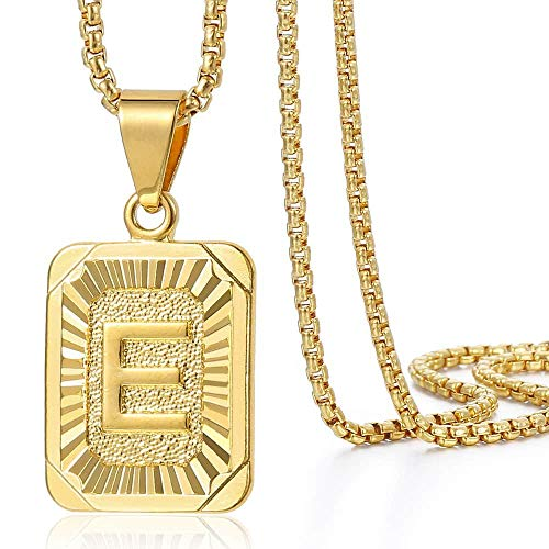 Trendsmax Initial Letter Pendant Necklace Mens Womens Capital Letter Yellow Gold Plated E Stainless Steel Box Chain 22inch