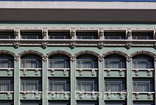 San Francisco, CA Photo - Architectural Detail of a Historic Building on Market Street in San Francisco, California - 12in x 8in