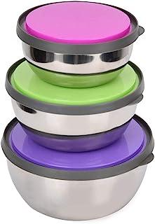 bianco Set di ciotole in vetro con chiusure ermetiche KELZIA Set di 5 contenitori in vetro con coperchio rotondo Contenitori per alimenti