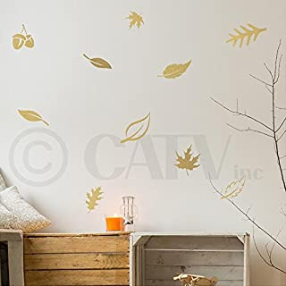 Set of 24 Fall Leaves wall saying vinyl lettering art decal quote sticker home decal (Metallic Gold)