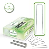 Gray Bunny Garden Landscape Staples, 50 Pack, 6 Inch (15.2 cm) 11 Gauge Rust Resistant Galvanized Steel Ground U Shaped Garden Stake U Pins to Secure Lawn Fabrics Weed Barrier Covers & Tubing