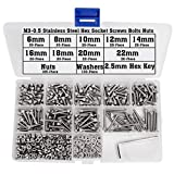 500 Pieces Stainless Steel M3 Bolts Nut Washers Kit Hex Socket Head Screws 6mm 8mm 10mm 12mm 14mm 16mm 18mm 20mm 22mm for 3D Printer Quads Drones RC Hobby DIY Project