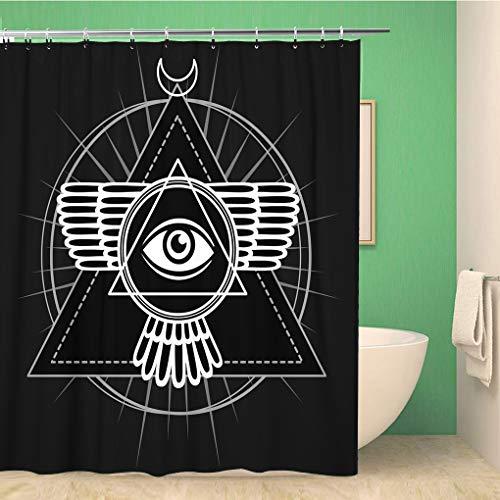 Cortina de ducha Awowee Decor Símbolo Esotérico Alado Pirámide Conocimiento Ojo Sagrado Geometría la tela de poliéster de 180 x 180 cm Set de cortinas de baño impermeables con ganchos para bañ