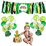 U-Hotmi Baby Birthday Decorations, ONE Highchair Banner First Happy Birthday Balloons Cake Topper 1st Birthday Crown