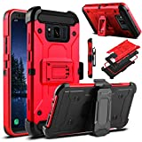 Galaxy S8 Active Case, Venoro Heavy Duty Armor Shockproof Rugged Protection Case Cover with Belt Swivel Clip and Kickstand for Samsung Galaxy S8 Active 5.8' 2017 Release (Red)