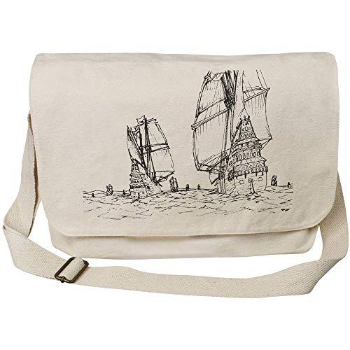 Azeeda 'Naval Scene' Cotton Canvas Messenger Bag (MS00001723)