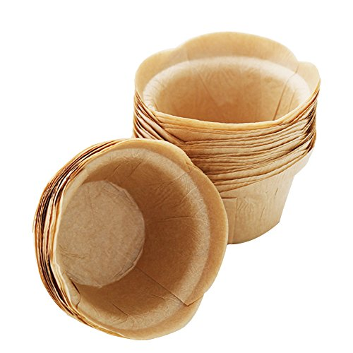 SK Cupcake Liners Baking Muffin Paper Baking Cups for Weddings, Birthdays, Baby Showers (Natural 50pcs)
