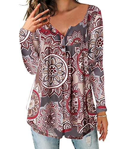 DEMO SHOW DEMO SHOW Damen Tunika Top Locker Langarm V Ausschnitt Knopfleiste Plissiert Floral Henley Shirt Bluse T Shirt (Hellbraun, S)