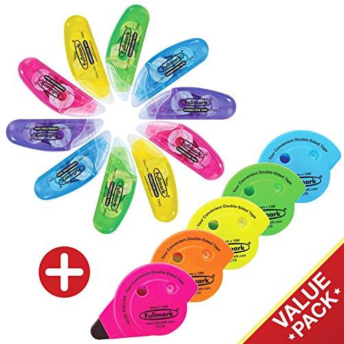 Fullmark Valore Pack, Modello B Correttore a nastro (10 pezzi) + Colla a Nastro Permanente (5 pezzi)