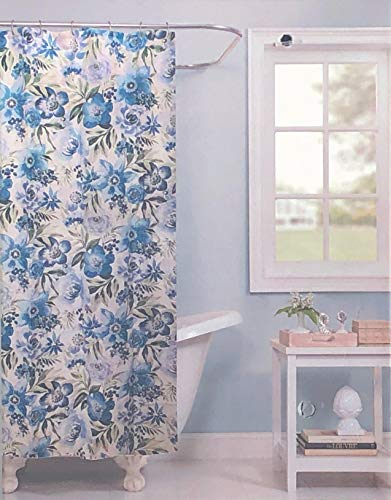 Raymond Waites Atiu Ozeanblau Duschvorhang mit Blumenmuster in Blautönen auf cremefarbenem / cremefarbenem Stoff