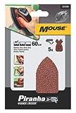 Piranha Mouse-Schleifpapier, Körnung 60 (grob gekörnt, mit Klett-Fix, passend für Kompakt-Mouse) 5 Stück, X31039