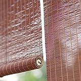 JLXJ Estor Enrollable Persiana Bambú Pérgola Exterior Persiana Enrollable de Bambú, 95cm/105cm/135cm/155cm de Ancho, 60% de Apagón Sombra de Sol con Ganchos, para Cocina Oficina