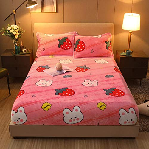 GSYHZL DEPTH Fitted Sheet,Flannel cartoon fitted sheets, thick warm and non-slip bed cover for girls, suitable for single and double king beds-D_90cmx200cm+30cm