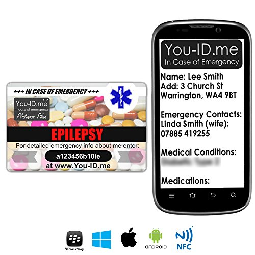 Epileptische Epilepsie Noodnummer Plastic Portemonnee Kaart. Elektronisch. Telefoon Responsive Verstuurt sms-teksten. Geeft snelle vitale informatie aan NHS personeel, Medics ETC