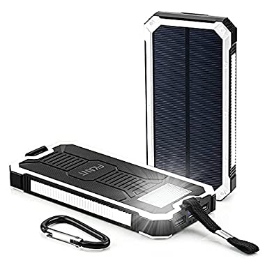 Solar Charger, FKANT 15000mAh Portable Dual USB Solar Battery Charger External Battery Pack Phone Charger Power Bank with 6LED Flashlight for iPhone iPad Samsung HTC Cellphones and More