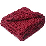 Cheer Collection Chunky Cable Knit Throw Blanket - Beautiful, Decorative, Ultra Soft Accent Throw - 50 x 60 inches, Burgundy