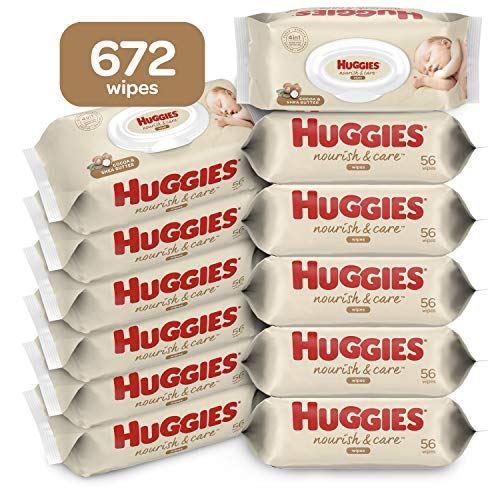 Huggies Nourish & Care Scented Baby Wipes, 12 Flip-Top Packs (672 Wipes Total)