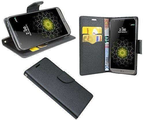 ENERGMiX Buchtasche kompatibel mit LG G5 SE (H840) Hülle Hülle Tasche Wallet BookStyle mit Standfunktion in Schwarz