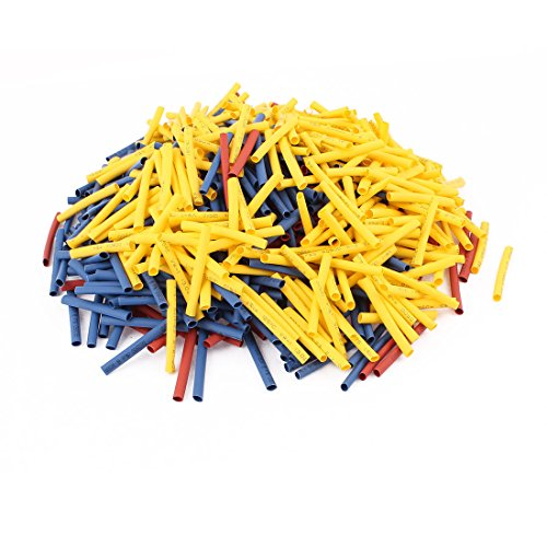 Aexit 750Pcs 3mm Shaft Collars 2:1 Heat Shrink Tube Sleeving Wrap Wire Kit Red Heat Shrinkable Shaft Collars Yellow Blue