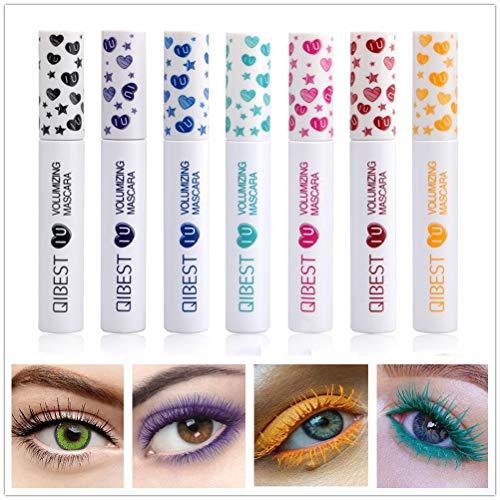 Bellesky Waterproof Colored Mascara 7 Color Variety Pack Longlasting Smudgeproof Mascara Voluminous and Charming Mascara Set (7 Colors Set B)