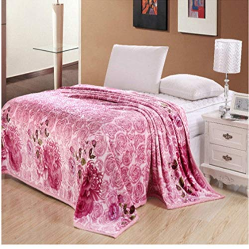 xkmyt Blanket Coral Fleece Pink Rose Blanket Throws On Sofa/Bed/Plane Travel Big Size Home Textiles 150X200Cm A