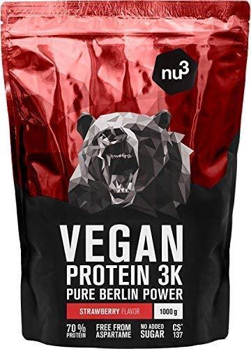 nu3 Vegan Protein 3K Shake - 1 Kg Erdbeere Blend - veganes Eiweisspulver aus 3-Komponenten-Protein mit 70% Eiweiss - Pulver zum Muskelaufbau mit Strawberry Geschmack - Laktosefrei und zuckerfrei