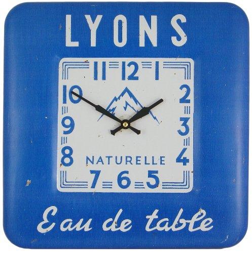 Roger Lascelles vierkante wandklok Lyons eau de table blik blauw