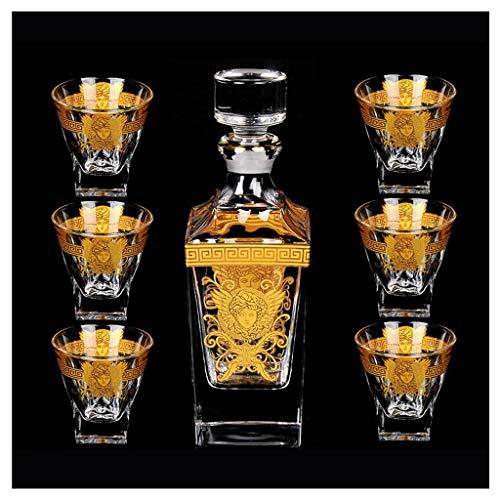 Zcxbhd Esquema Cristal En Vaso Vidrio Dorado Y Decantador Whisky Vino Tinto, 630 Ml / 200 Ml 7 Piezas