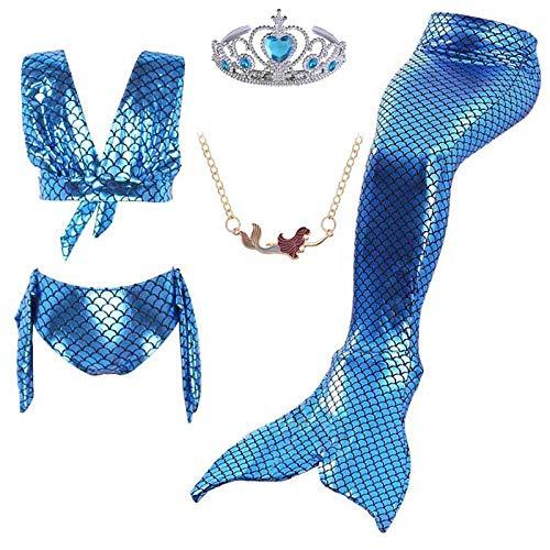 Cola De Sirena Vestido De Cola De Sirena A Escala De Pescado Y Traje De Baño De Bikini para Niñas Niños Cosplay Traje De Natación