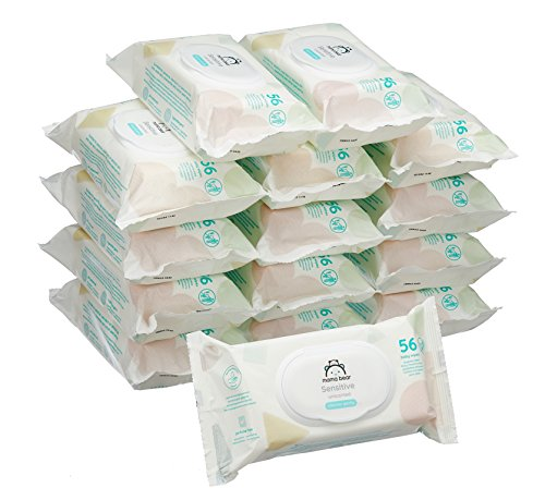 Marca Amazon - Mama Bear Sensitive Toallitas húmedas para bebé - 15 Paquetes (840 Toallitas)