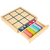 Wooden Sudoku Puzzles Board Game with Drawer (Colorful) - Math Brain Teaser Toys Educational Desktop Game Train Logical Thinking Ability