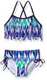 Kanu Surf Girls' Big Beach Sport Fringe 2-Piece Bikini Swimsuit, Kelly Purple, 10