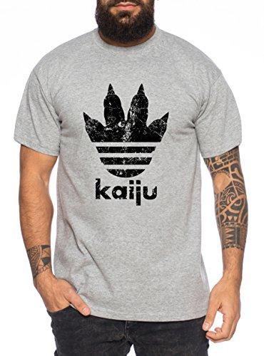 Adi Kaiju Herren T-Shirt Gojira Godzilla Japan Nippon Kaiju Kanji Tokyo, Farbe:Dunkelgrau Meliert;Größe:M