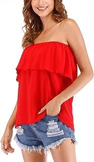 Women's Summer Casual Off Shoulder Tube Top Chiffon Sleeveless Flowy Blouse Strapless Ruffle Swing Shirt